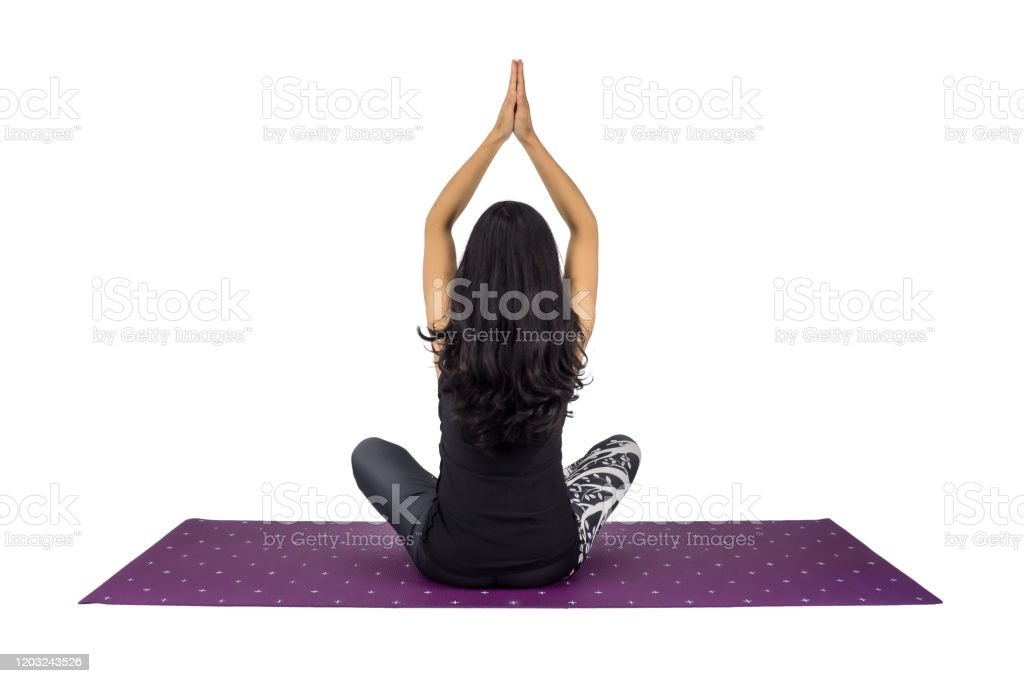 A Woman Yoga Teacher In Sukhasana Anjali Mudra Posture Stock Photo Download Image Now Istock