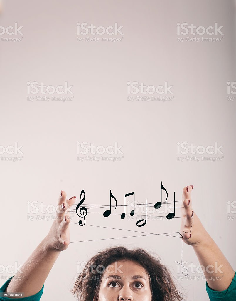 Woman you over the head stock photo