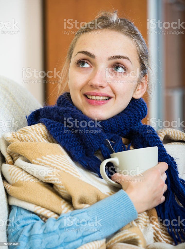 Womanl with fever getting better after treatment stock photo