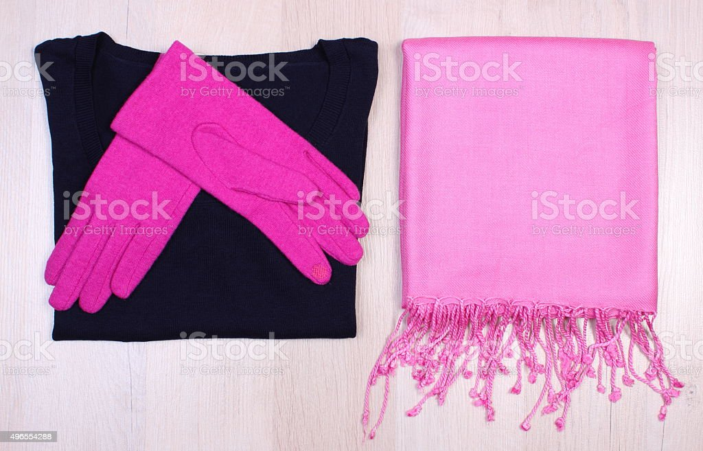 Womanly clothes on wooden background, clothing for autumn or winter stock photo