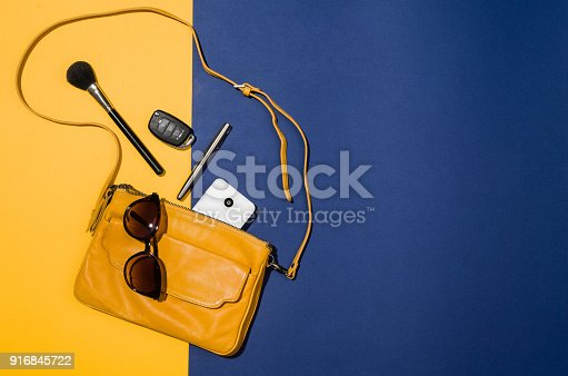 istock Woman's accessories flat lay on colorful background top view 916845722