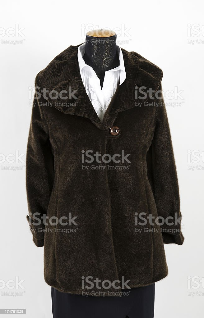Woman's artificial fur coat on mannequin royalty-free stock photo