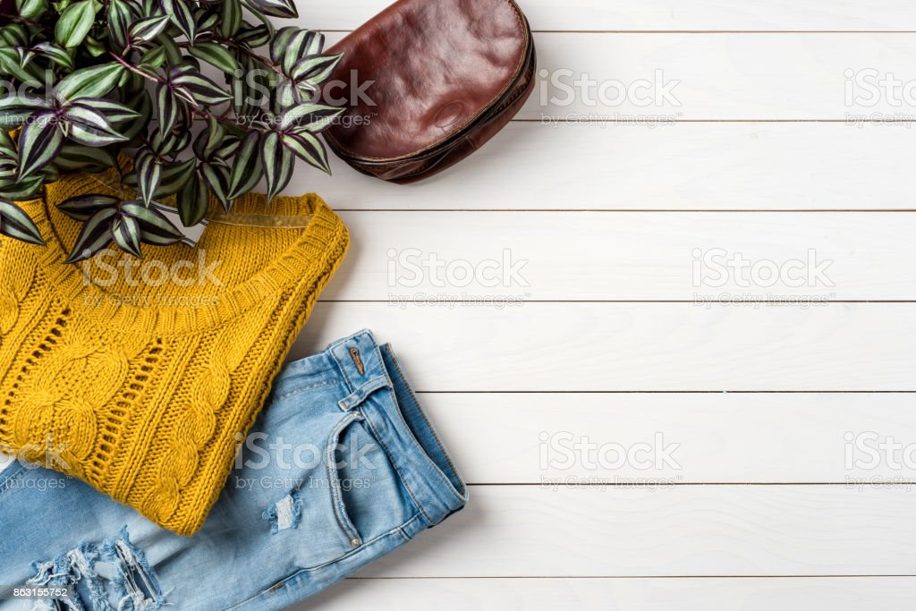 Woman's autumn or winter clothing stock photo