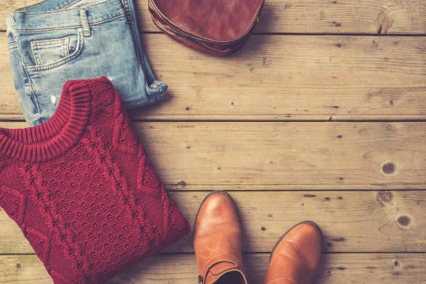 Herbst oder Winterbekleidung Frau – Foto