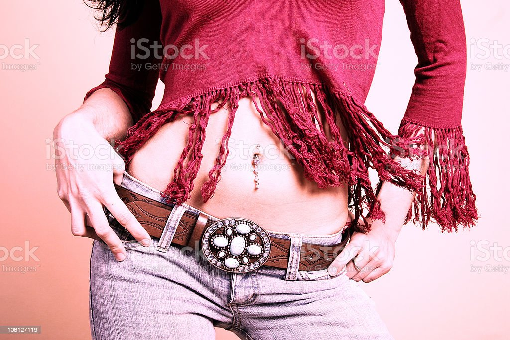 Woman's Belly Button Peircing royalty-free stock photo