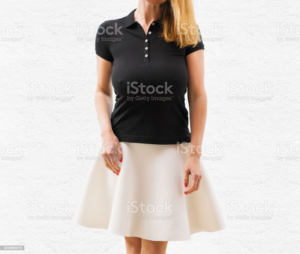 Woman's black polo shirt template - fotografia de stock
