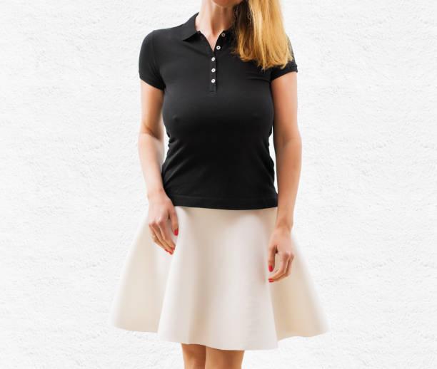 Woman's black polo shirt template stock photo