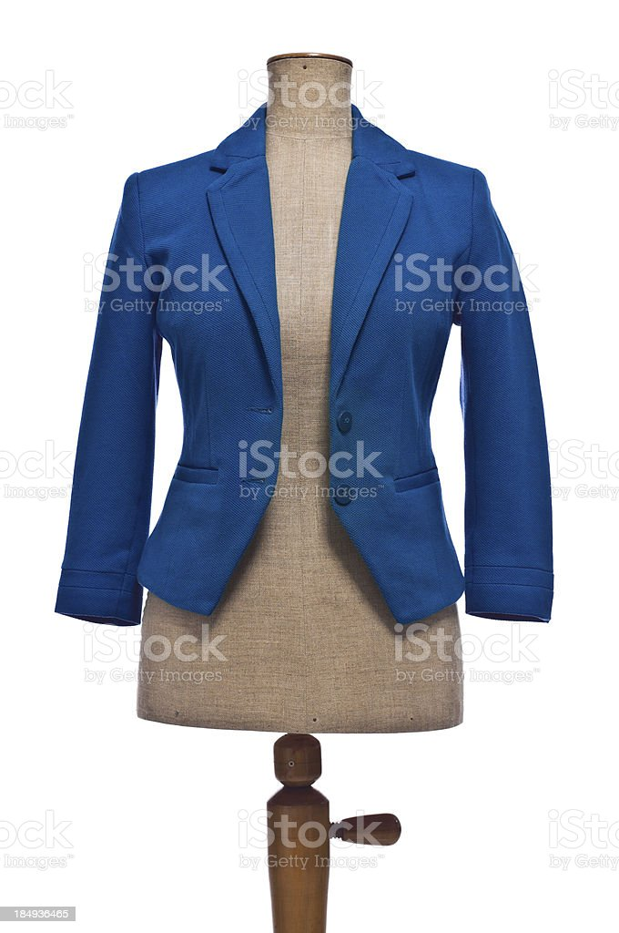 Woman's blue blazer on mannequin, isolated stock photo