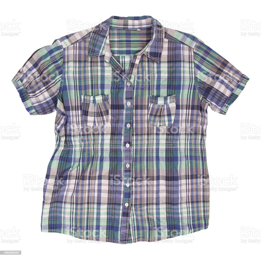 Woman's blue cotton plaid shirt with short sleeves stock photo