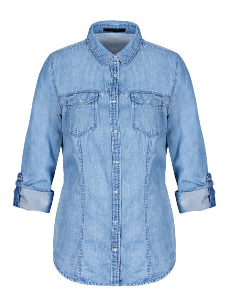 Womans blue denim shirt on invisible mannequin isolated on white stock photo