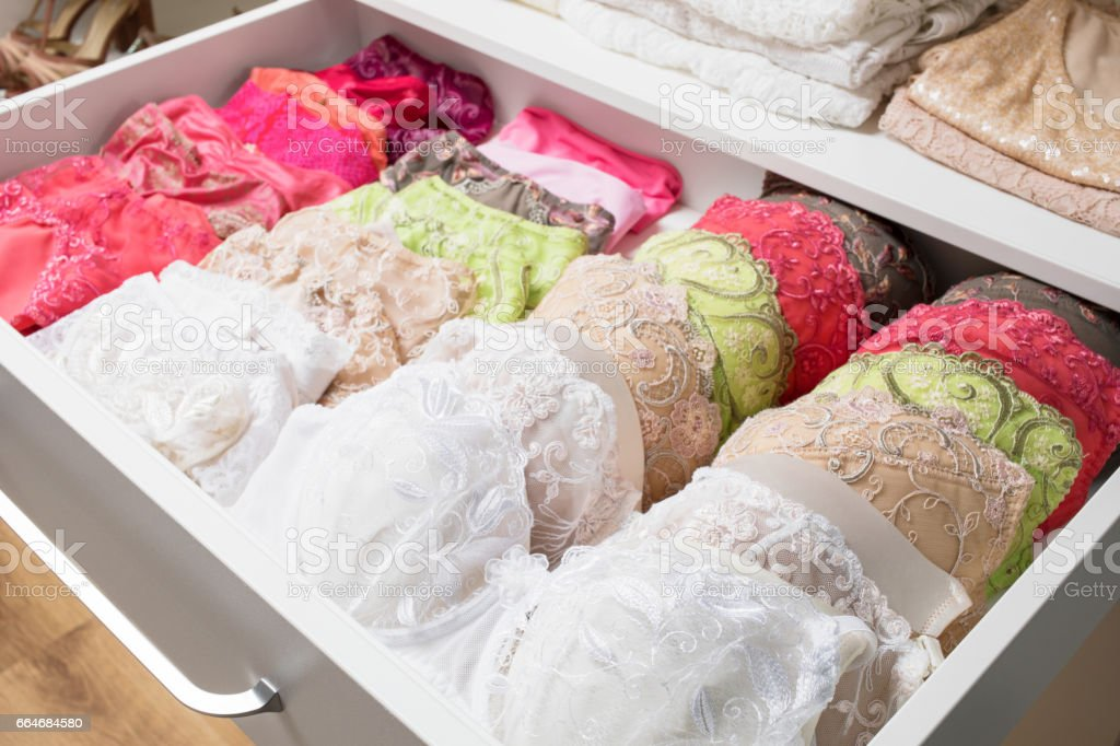 Woman's bras in drawer stock photo