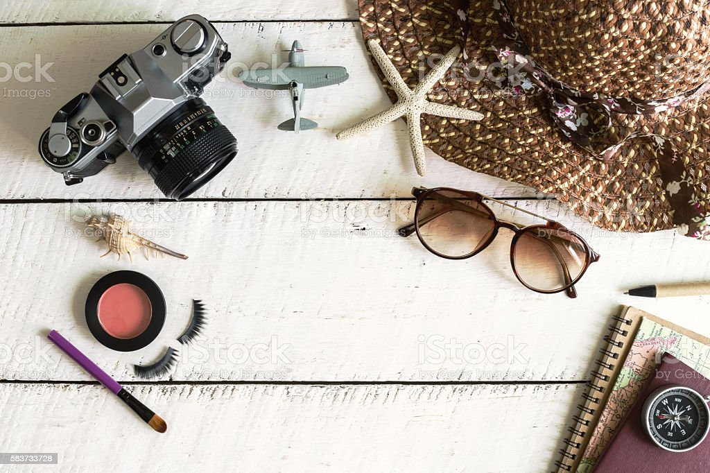Woman's casual outfits and copy space, Travel concept stock photo