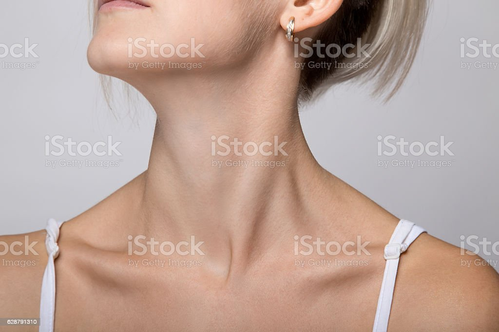 Woman's chin and neck stock photo