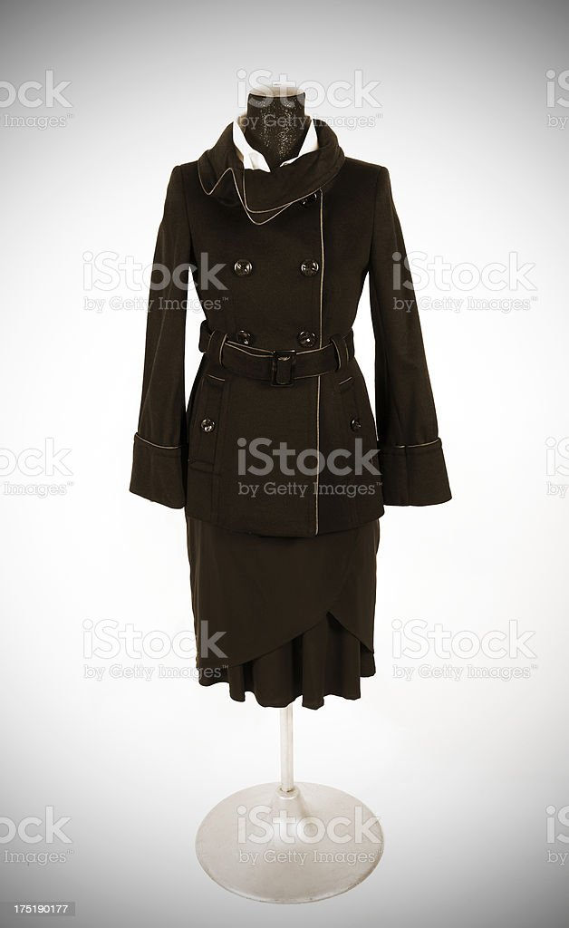 Woman's coat on mannequin stock photo