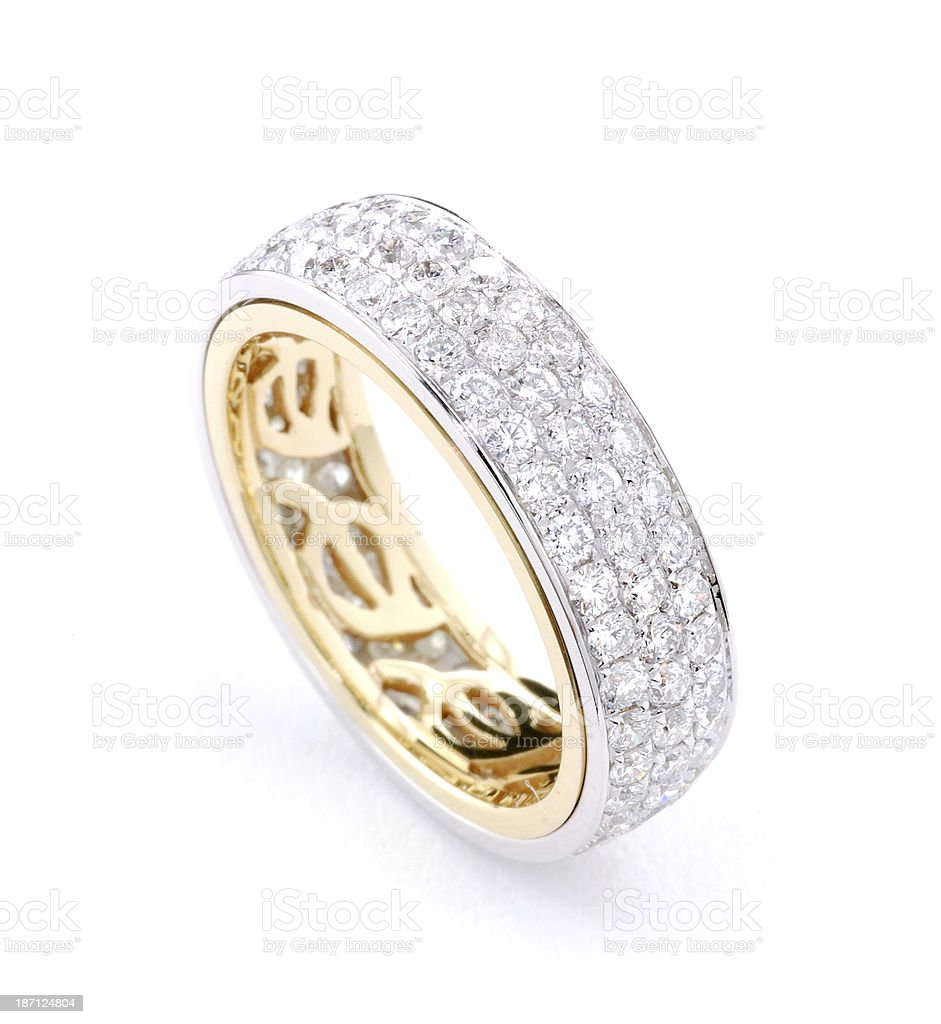 Woman's Diamond and Gold Wedding Ring royalty-free stock photo