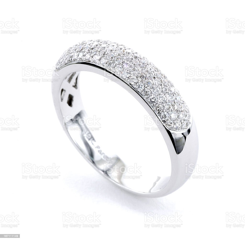 Woman's Diamond and Platinum Wedding Ring royalty-free stock photo