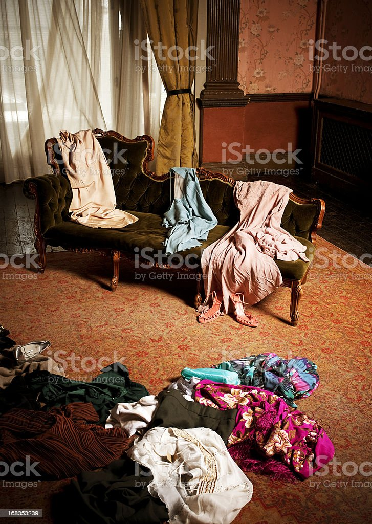 Woman's Dressing Room, Clothing Scattered stock photo
