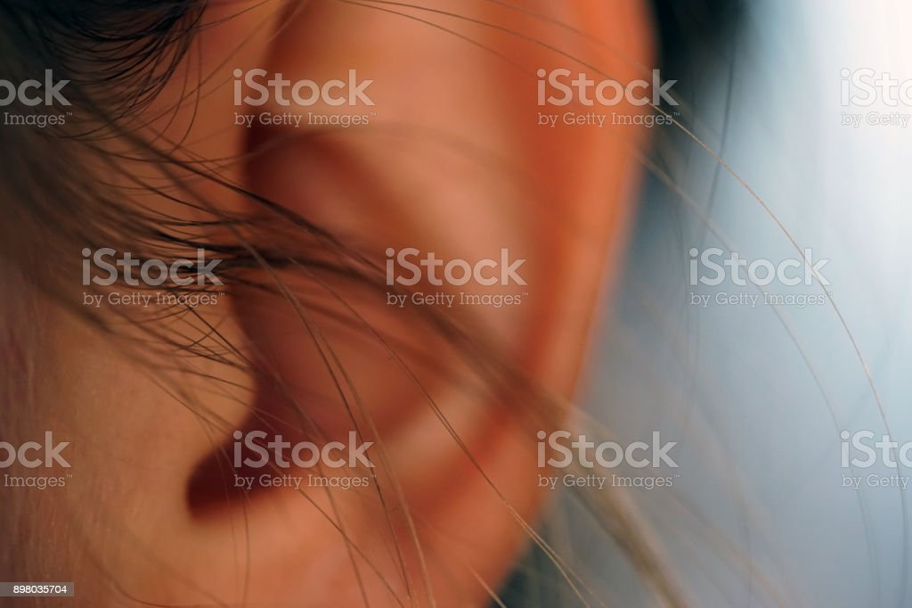 Woman's ear macro close up shot listening stock photo