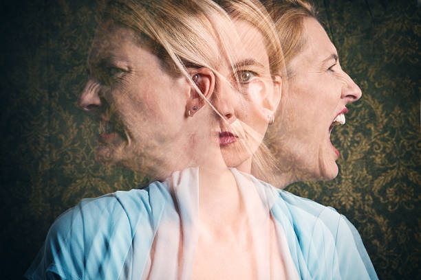 Woman's Emotional Struggle A multi-exposure of an emotional woman. unbalanced stock pictures, royalty-free photos & images
