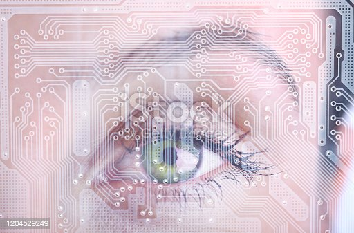 Woman's eye and technological concept. Seeing with digital intelligence