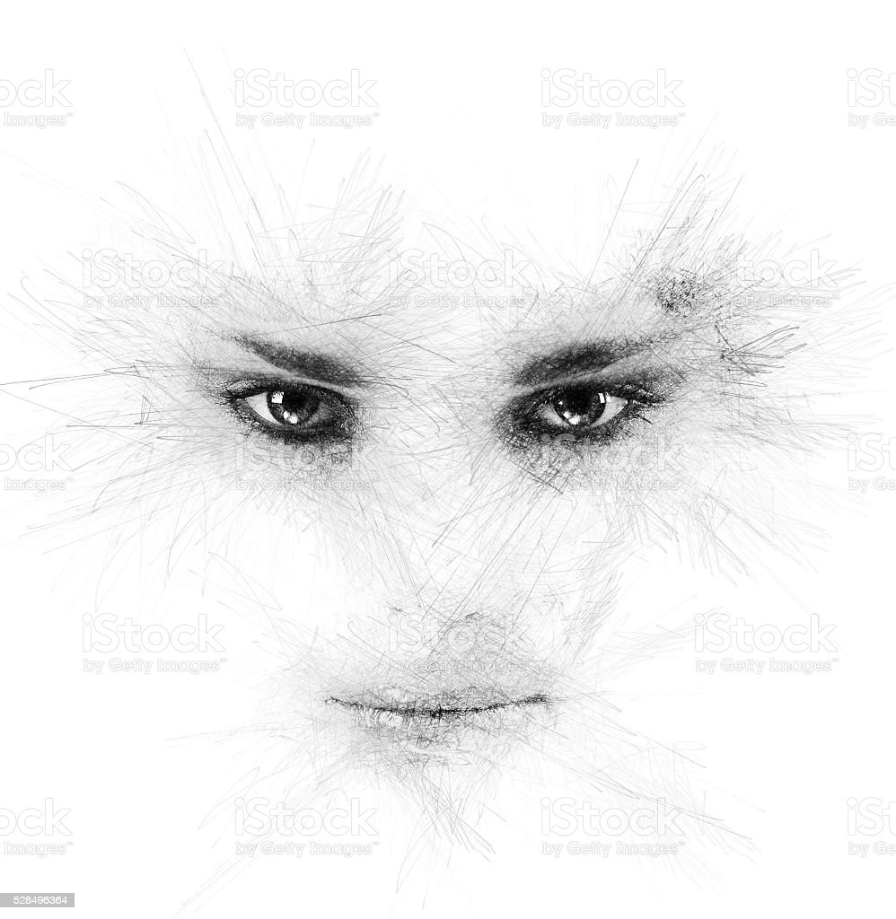 Woman's eyes and lips stock photo