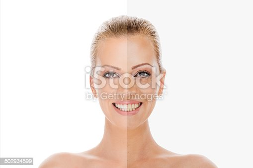 istock Woman's face before and after retouch 502934599