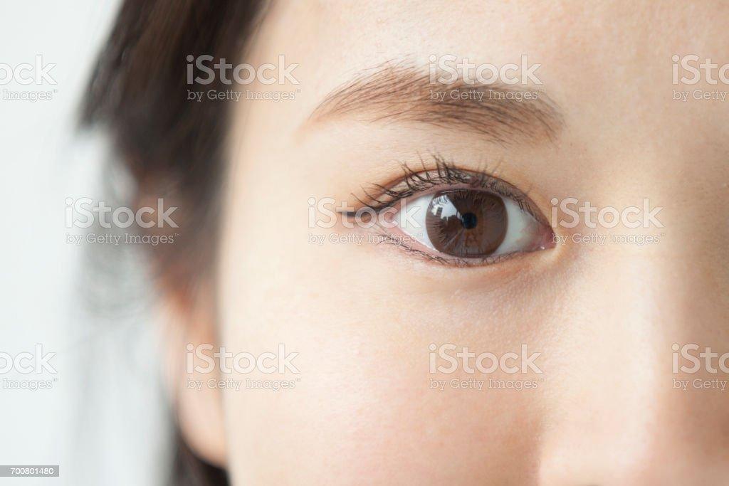 Woman's face close up stock photo
