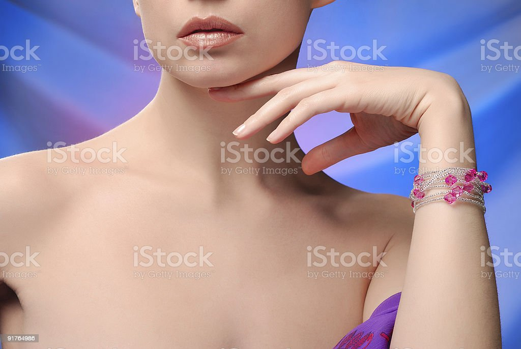 Woman's face closeup royalty-free stock photo