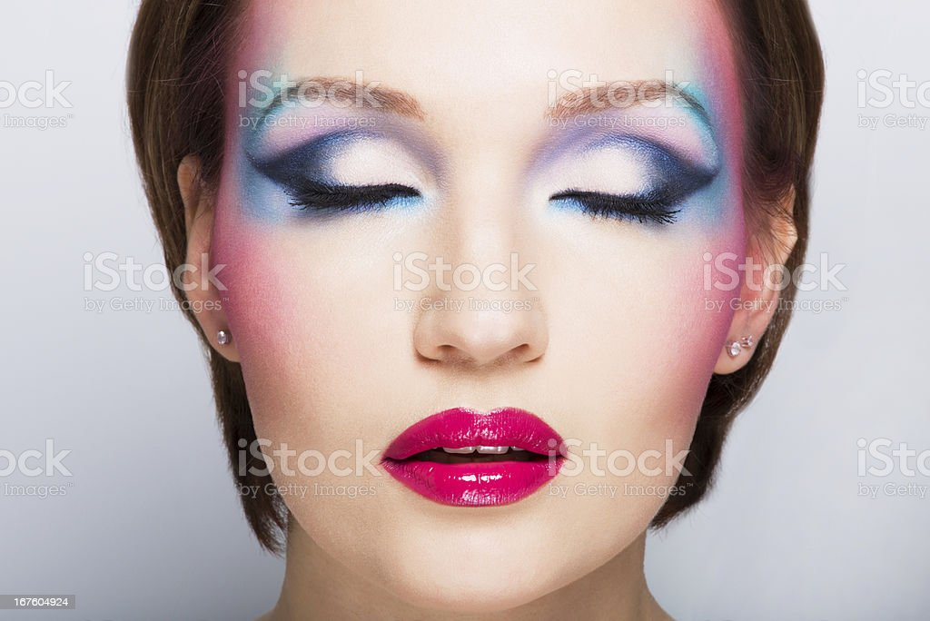 Woman's face with fashion bright makeup. royalty-free stock photo