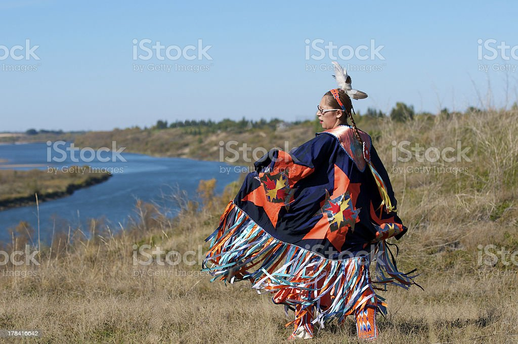 Woman's Fancy Shawl Dance River stock photo
