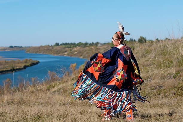 Woman's Fancy Shawl Dance River stock photo