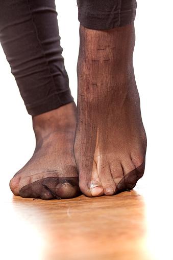 pantyhose Footjob with