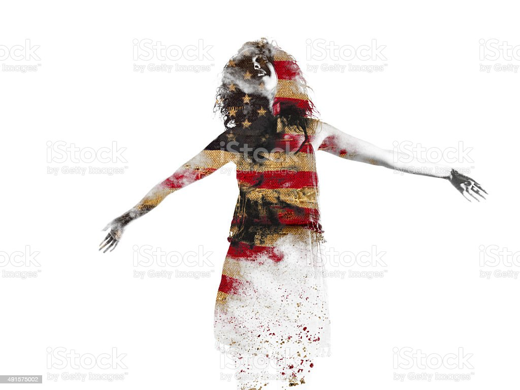 Woman's form filled in with an American flag stock photo