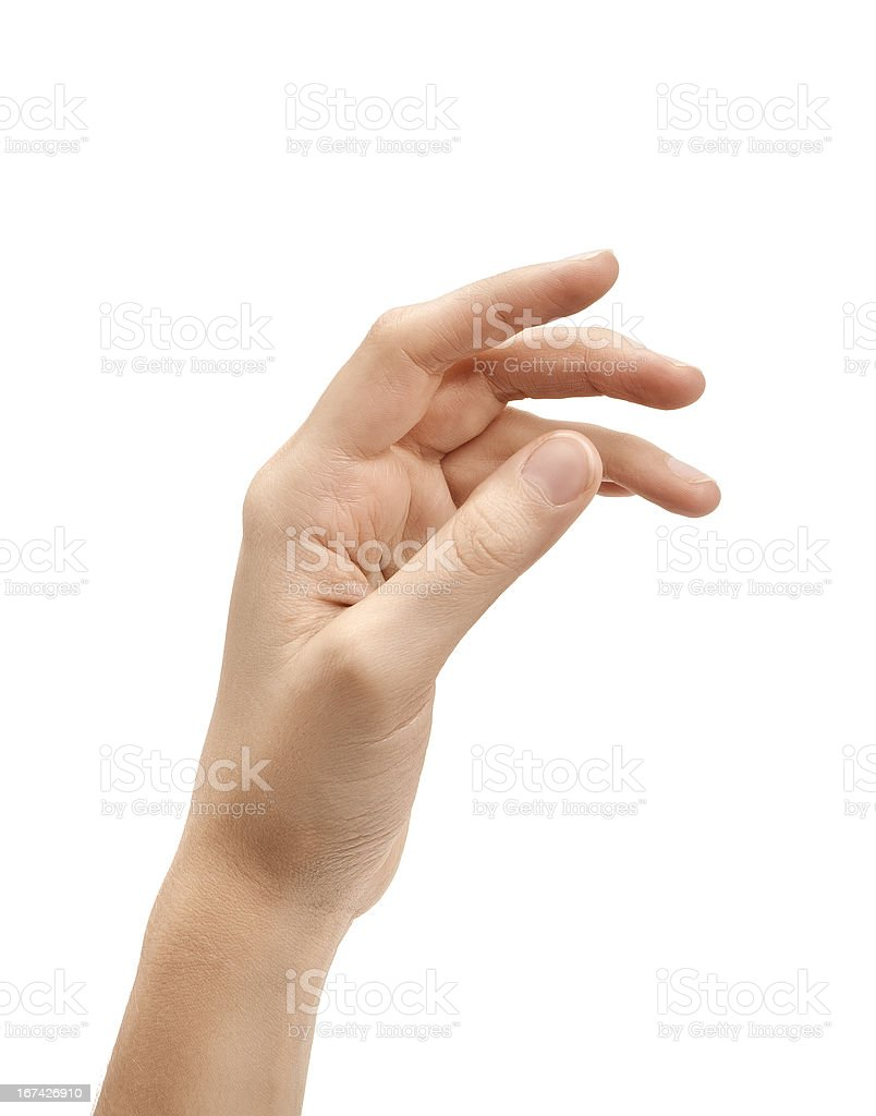 Woman's hand against white background royalty-free stock photo
