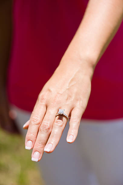 woman's hand and diamond engagement ring - diamond ring hand stock pictures, royalty-free photos & images