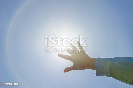 Woman's hand and the Sun.