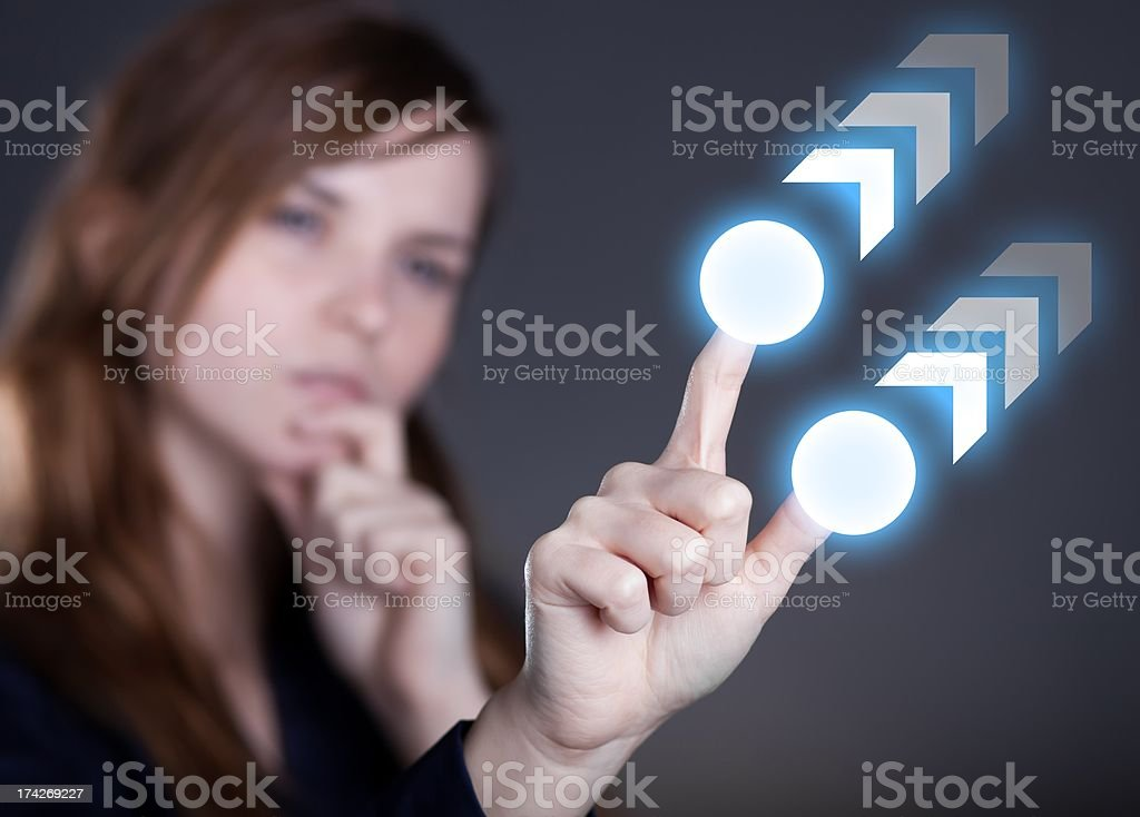 Woman's hand and two finger on touch screen royalty-free stock photo