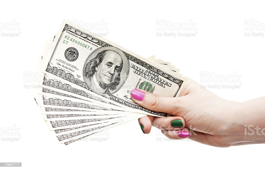 Woman's hand holding 100 US dollar banknotes royalty-free stock photo