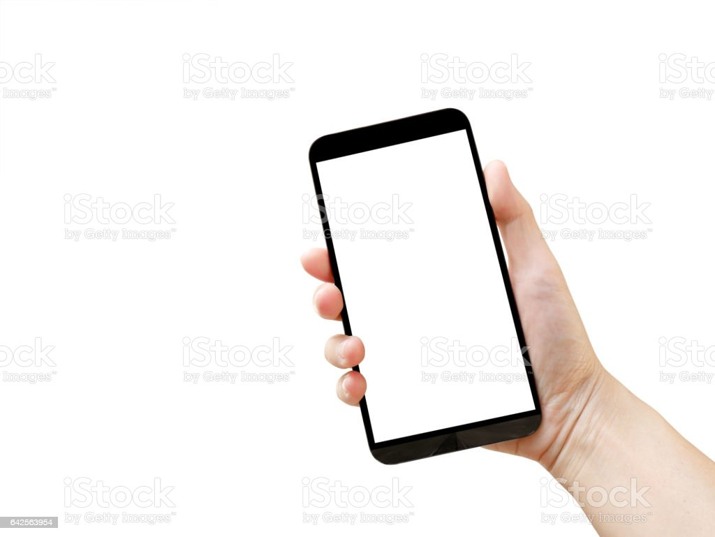Woman's hand holding blank mobile phone stock photo