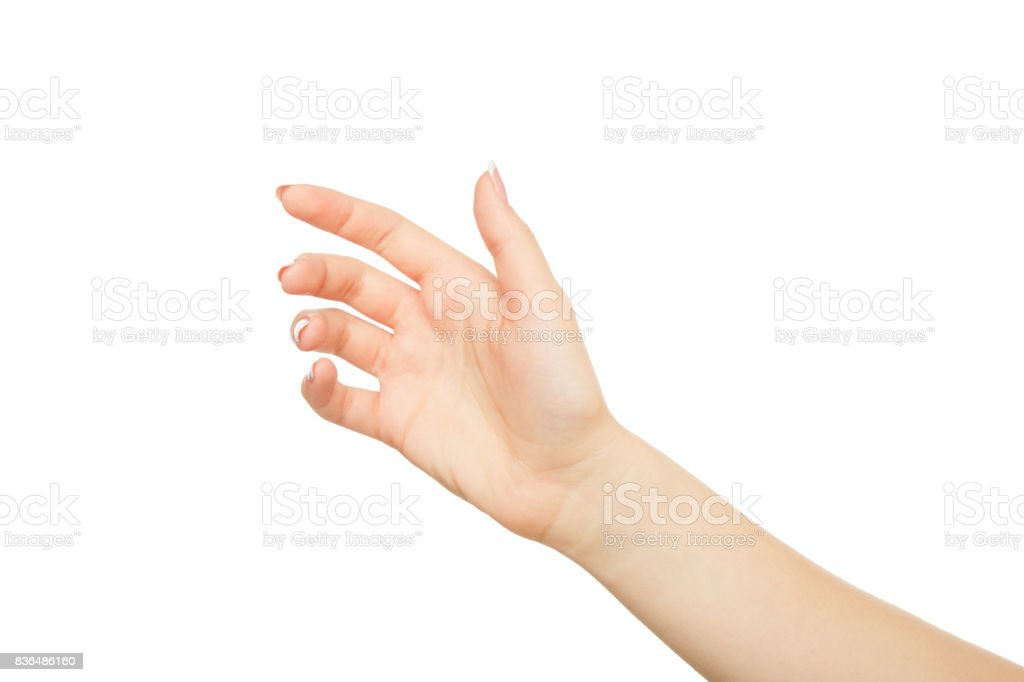 Woman's hand holding card, phone or other, crop, cutout stock photo