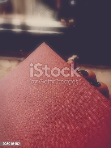 Woman's Hand Holding Red Book. Fireplace in Background. Selective Focus With Copy Space.