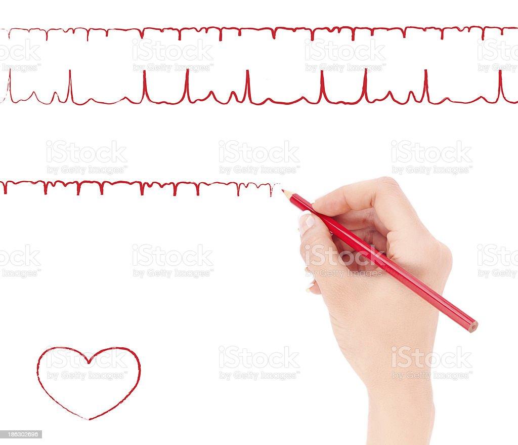 Womans Hand Holding Roten Bleistift Und Zeichnen Herz Cardiogram
