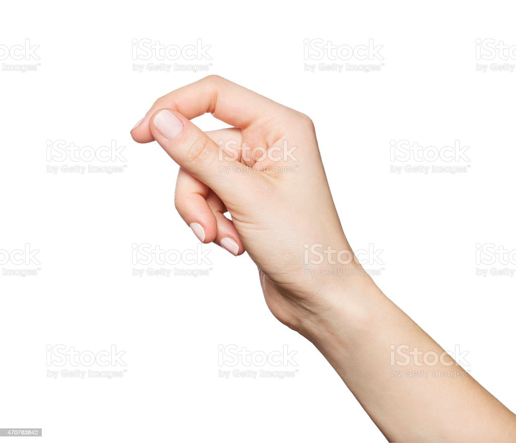 Woman's hand holding something, isolated on white stock photo