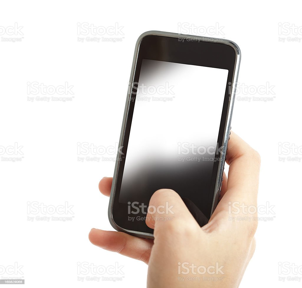 Woman`s hand holding white screen smart phone royalty-free stock photo