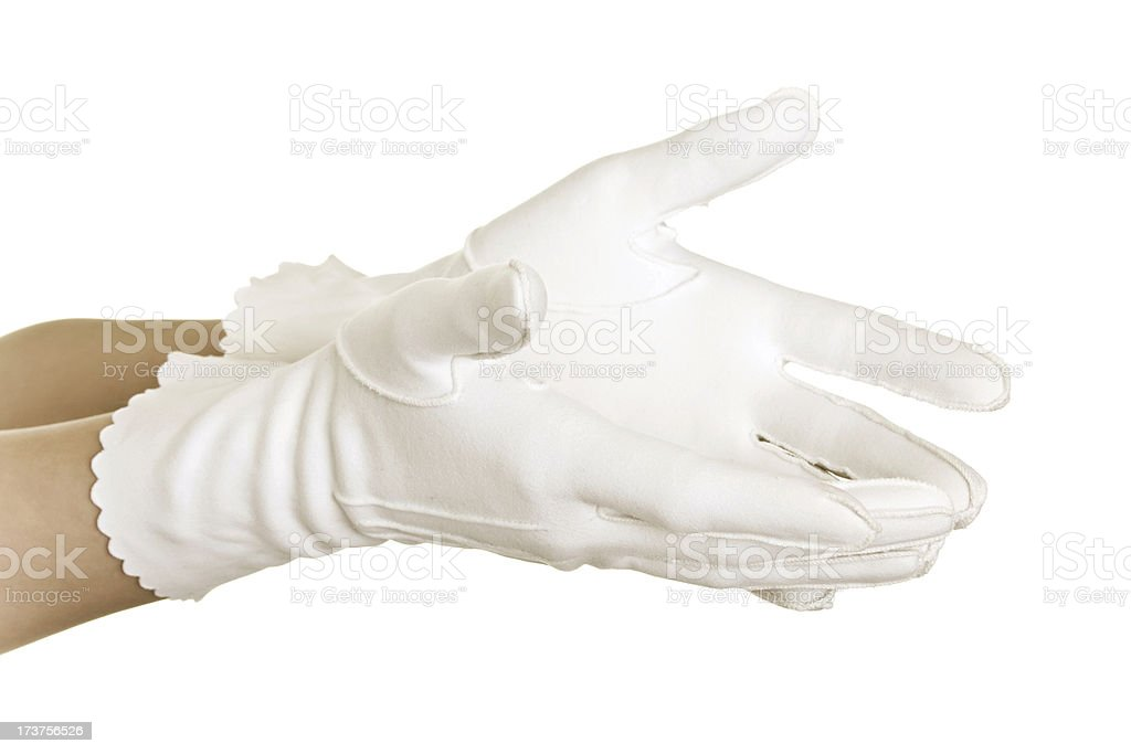 Womans hand in white gloves royalty-free stock photo