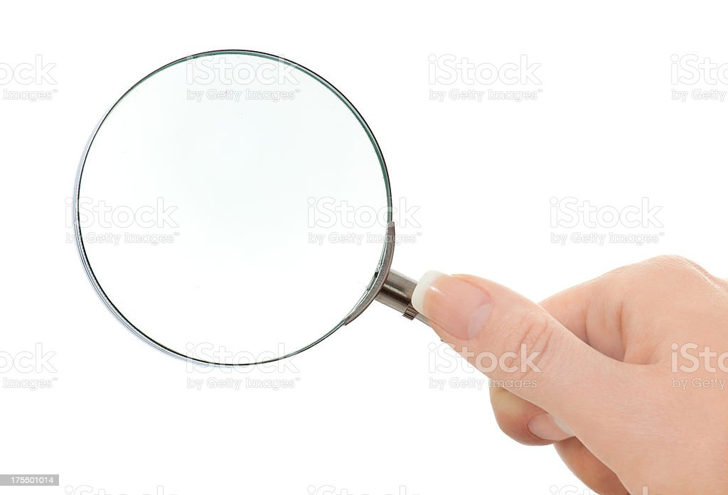 womans hand is holding a lens isolated on white stock photo