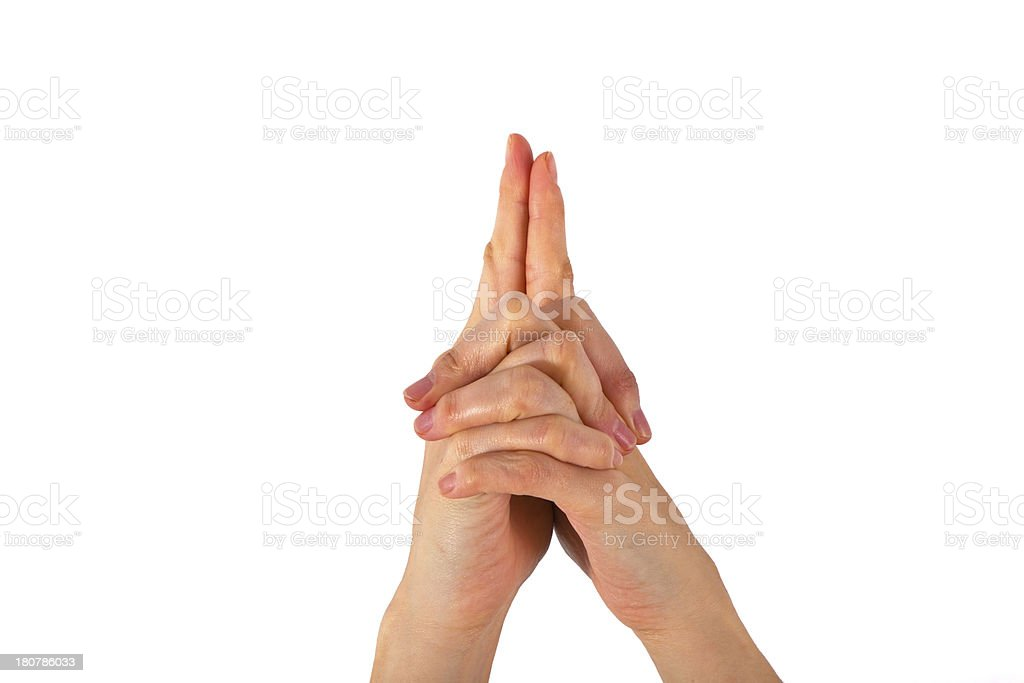 womans hand is shown in yoga gesture royalty-free stock photo