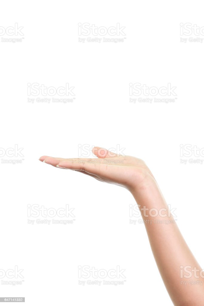 Woman's hand isolated on white background stock photo