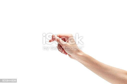 istock woman's hand measuring invisible items. Isolated on white 920844838