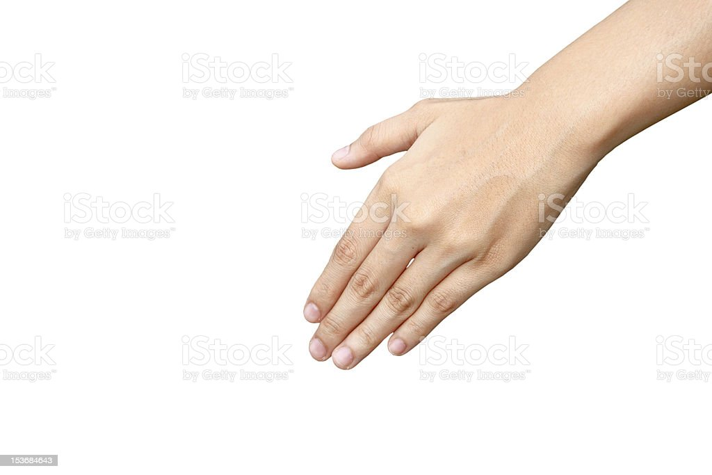Woman's hand on white background royalty-free stock photo